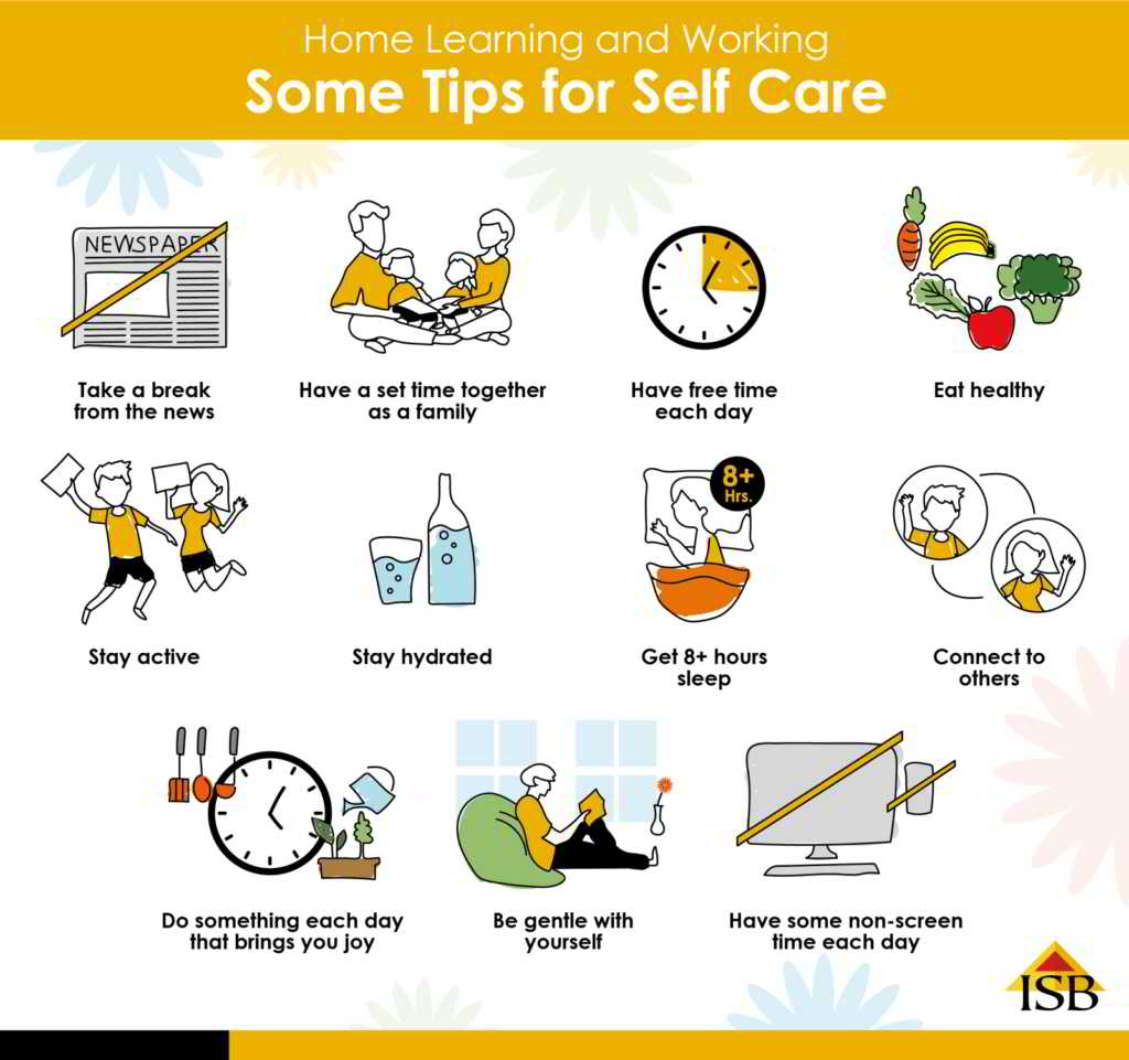 home learning and working tips for self care infographic